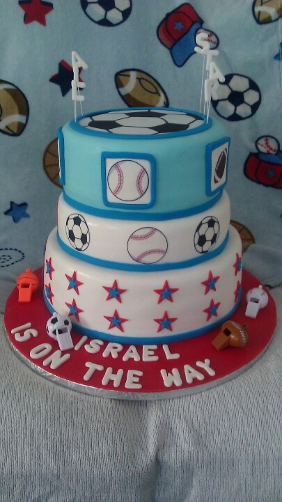 sports theme baby shower cake creations made by me pinterest
