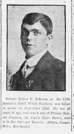 Johnson, Robert, E., Pte 1.5 RWF KIA 22.0915