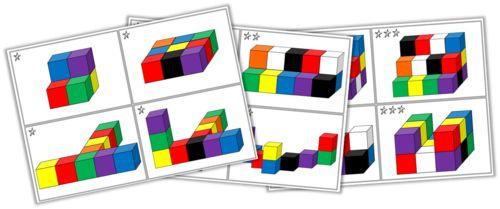 Página en francés con modelos en 2 y 3 dimensiones para hacer con Policubos.  #Policubos #Unifix #Multicubos #geometría #matemáticas