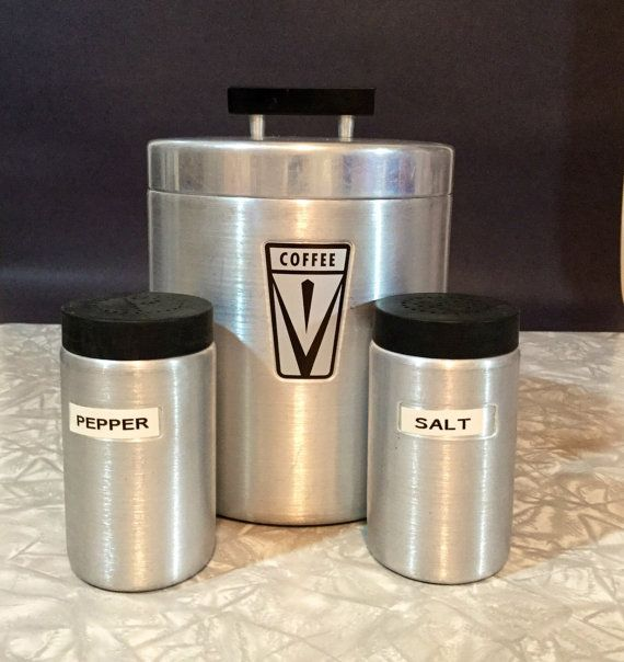 Vintage aluminum brushed aluminum coffee canister by VeryUsVintage
