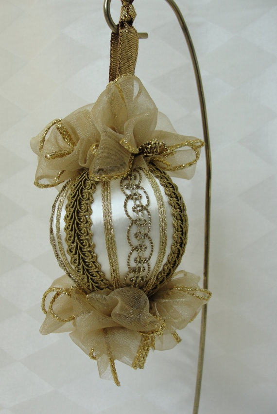 Antique Gold Trims on Handmade Satin Christmas Tree Ornament by Bobbyes Hobbies, $17.50