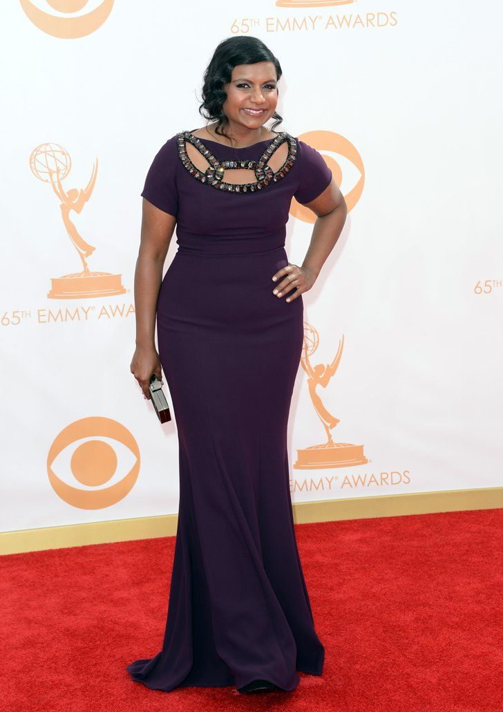 Pin for Later: Let's Flash Back to Who Wore What at Last Year's Emmy Awards  A cutout neckline was the focal point of Mindy Kaling's short-sleeved dress (though we definitely checked out that Jerome C. Rousseau clutch, too!).
