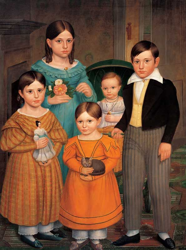 """""""The Farwell Children""""                             {I love how each child holds something in their hand.}    Attributed to Deacon Robert Peckham (1785–1877)  Fitchburg, Massachusetts  c. 1841  Oil on canvas"""