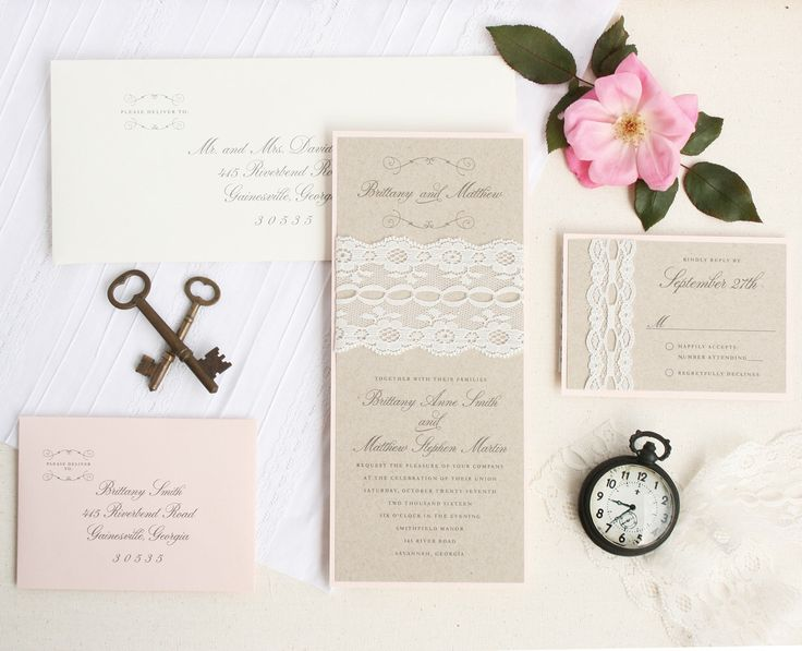 Pretty for a romantic wedding.    Lace Wedding Invitations- Kraft Wedding Invitation Set - Blush Wedding Invitation Suite Sample by TigerLilyInvitations on Etsy https://www.etsy.com/listing/261438464/lace-wedding-invitations-kraft-wedding