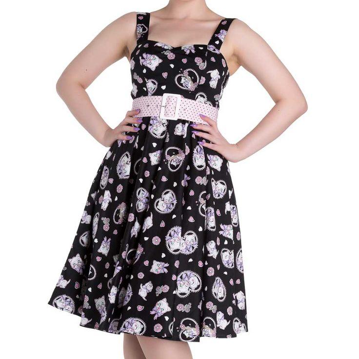 Amelia jurk met katten en harten print zwart - Vintage, 50's, Rockabilly, retro