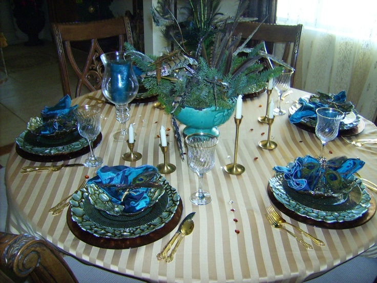 peacock themed dining room | home design