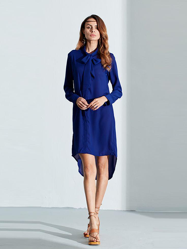 Zanzea Women Casual Loose Bowknot Long Sleeve Solid Color Shirt Dresses