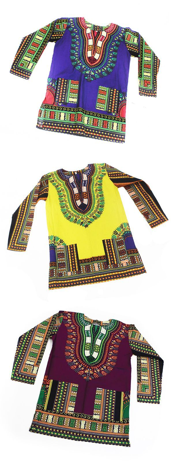 Traditional African Style Dashiki Shirts - These beautiful and bold African Dashiki shirts are both comfortable and classy.  They are a great way to celebrate African culture and history throughout Black History Month or wear it all year long to celebrate your love of Africa.  This traditional African fashion is great for wearing with jeans or leggings, or dress it up with a skirt or dress pants for wearing to work or a special event.  #dashiki #african #africa #dressycasual #africanfashion