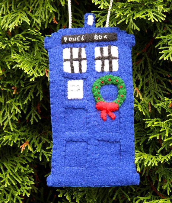 Doctor Who Christmas Tardis Felt Hanging by WhispersofaChildhood, $20.00