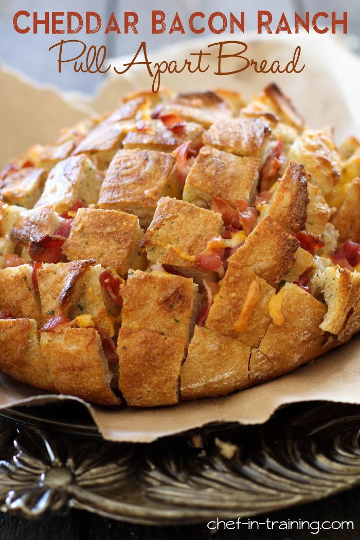 Cheddar Bacon Ranch Pull Apart Bread from chef-in-training.com ...This appetizer whips up in minutes and is a crowd pleaser!