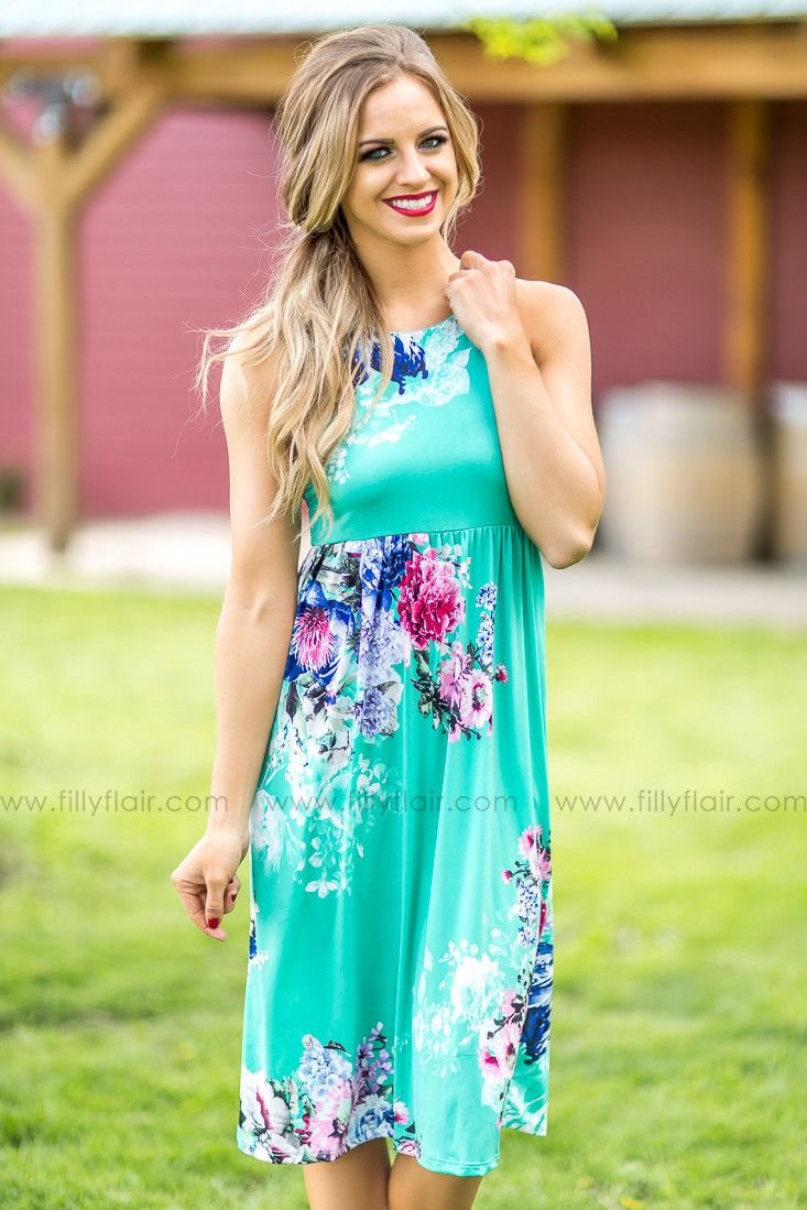 It Comes Natural Midi Floral Dress in Mint – Filly Flair