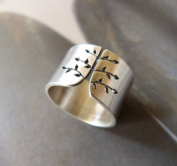Spring tree ring Sterling silver ring wide band ring by Mirma