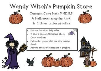 Halloween Graphing Wendy Witch's Pumpkin Store Common Core Math 3.MD.B.3 Graphing  This is a six page set of worksheets and you will receive:  1 x Picture Graph - Wendy Witch's Pumpkin Sales  1 x T Chart Graphic Organiser Sheet 1 x Question sheet + answer sheet  1 x Make a bar graph with the information sheet + answer sheet  The preview pages have all pages included for you to see.  I hope you enjoy these sheets as much as I do.  Thank you!
