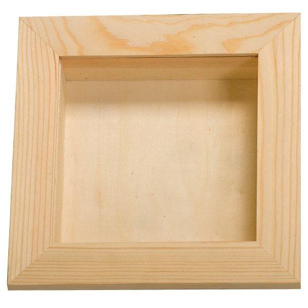 Vitrine en bois avec plexiglas - 15 x 15 x 3,8 cm