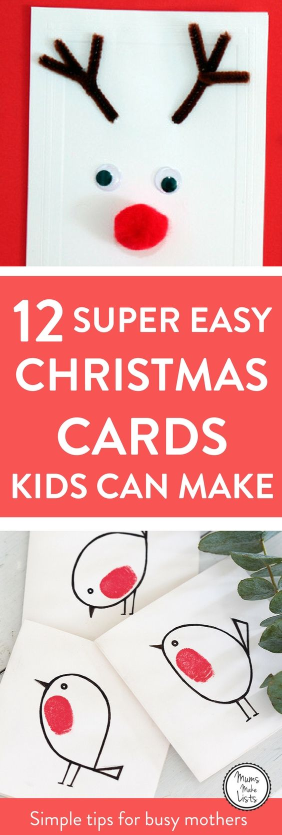 Christmas cards kids can make. 12 easy homemade Christmas card ideas for kids from preschool through school age. #Christmas2017 #ChristmasCards #ChristmasCards2017 #ChristmasCardsEasy
