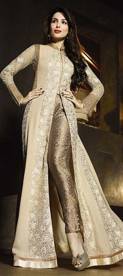458320 Beige and Brown  color family Bollywood Salwar Kameez in Faux Georgette fabric with Lace,Machine Embroidery,Stone,Thread work .