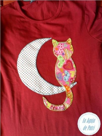 camiseta gato y luna  telas e hilos bordado