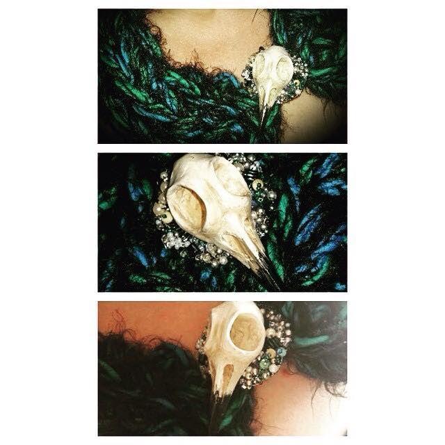 Raven Skull Brooch on Infinity Scarf by Di Paterson, Wool, Polymer Clay, Beads (2015), Sculpey, Wool, Beads, OOAK, Unique, Infinity Scarf, Katya www.facebook.com/Artfulfox1
