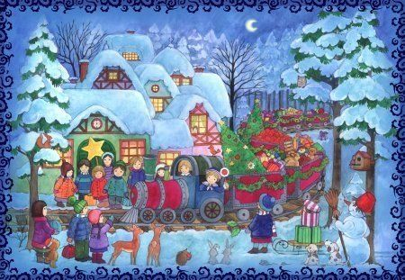 Christmas Train Scene German Advent Calendar -- You can find out more details at the link of the image.
