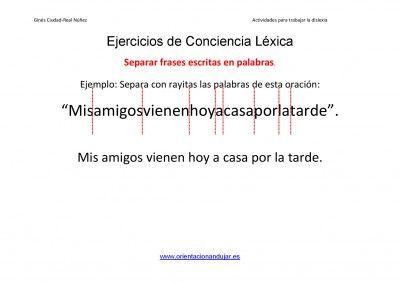 """LA CAJA MÁGICA DE LA """"SEÑO"""" MERCEDES: EJERCICIOS DISLEXIA: CONCIENCIA LÉXICA (SEPARAR PALABRAS EN FRASES)"""