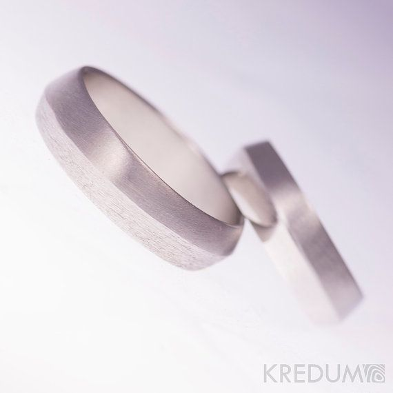 Design wedding band, Original jewelry, Hand made stainless steel wedding band - Fici  This hand forged band is made of anti-allergic stainless steel. It is subsequently ground to be smooth. The surface can be matte, shiny or little roughen (see the last photo in photo annex). The inner side is smoothly ground and polished.  The bands are without joints. The stainless steel is maintenance-free and keeps its design.  Dimensions: ring size, width (5-10mm), thickness (1-1.8mm) - according to…