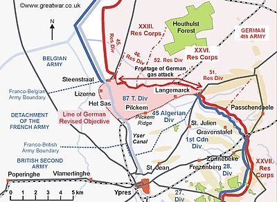Map to show the German objective for the infantry attack following a surprise  		gas cloud.