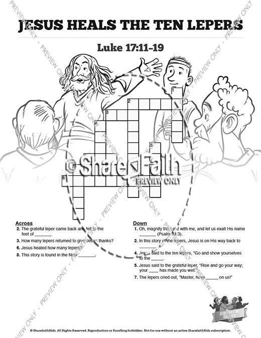 Luke 17 Ten lepers Sunday School Crossword Puzzles