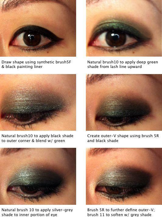 how-to: emerald smoky eyes w/ karl for shu smoky velvet palette by patricia makeup artistry  step-by-step 1