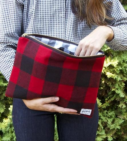 Leather Statement Clutch - Plaid Please 8 by Leo by VIDA VIDA MJjnHgv