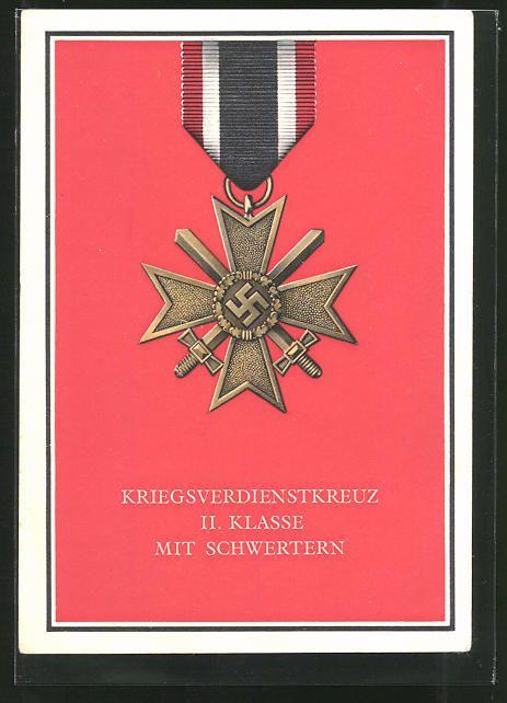 old postcard: AK Kriegsorden d. Großdeutschen Reiches, Kriegsverdienstkreuz II. Klasse mit Schwertern
