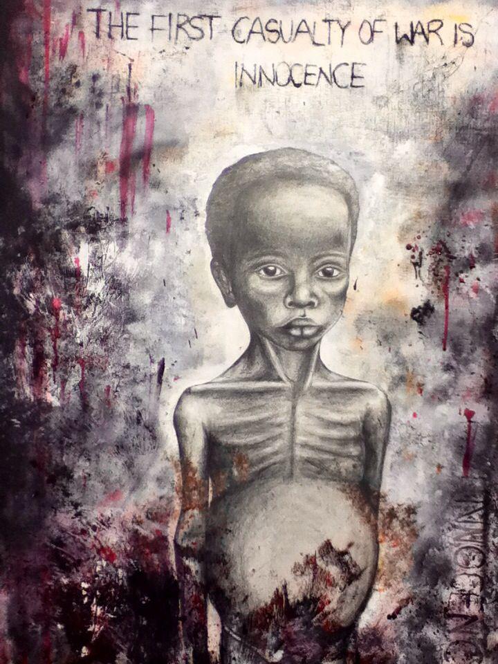 My GCSE art final piece, biafran famine young child
