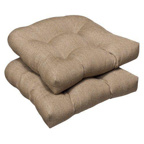 Pillow Perfect Outdoor Tan Textured Solid Sunbrella Wicker Seat Cushions, 2-Pack by Pillow Perfect. Save 17 Off!. $95.09. 100-Percent acrylic. 100-Percent polyester fiber. Sewn seam closure. Spot clean only. Fade resistant, mildew resistant, uv protection, water resistant, weather resistant. Outdoor tan textured solid sunbrella wicker seat cushions, 2-pack