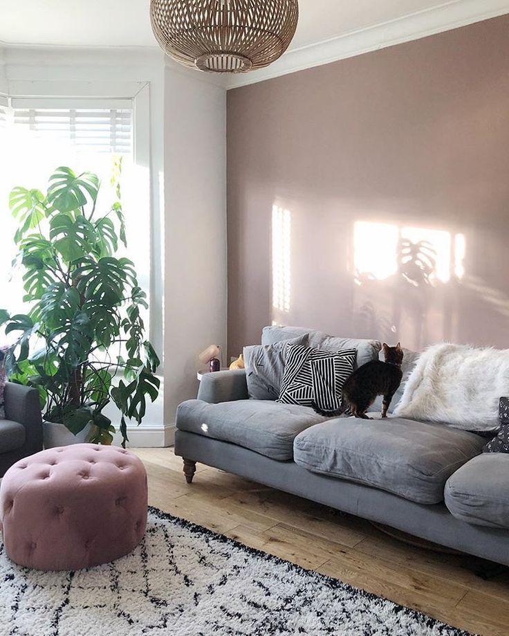 Modern Grey Bedroom Ideas: Farrow And Ball Sulking Room Pink, Scandi Style Living