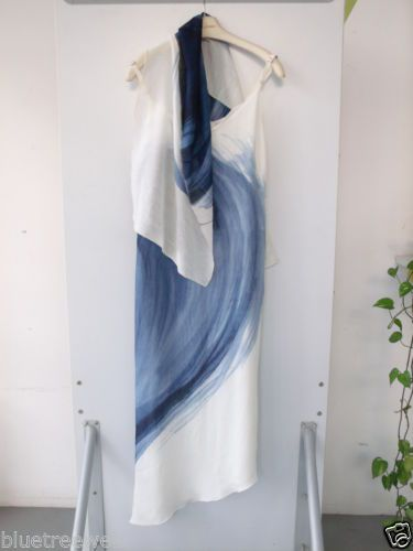 Abito dress stola cocktail Cruise crociera chiffon bianco blu notte Eur44 Uk12 | eBay