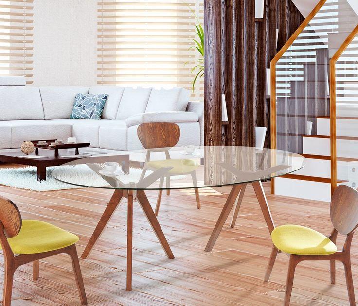 Mesa Noruega,linhas e formas diferenciadas juntamente com cores clássicas da madeira constituem a base com dois tripés com as pernas aberta segurando um tampo de vidro temperado oval, tornando-a uma deslumbrante mesa de jantar.