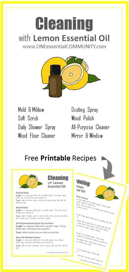 8 super simple (and effective) DIY recipes for cleaning with lemon essential oil (mold & mildew, soft scrub, daily shower spray, window & mirror cleaner, dusting spray, wood polish, all-purpose cleaner, and wood floor cleaner) PLUS a free PRINTABLE with all the recipes!!