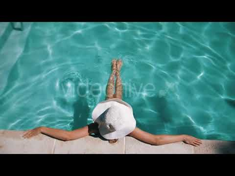 Woman In The Pool (Stock Footage)