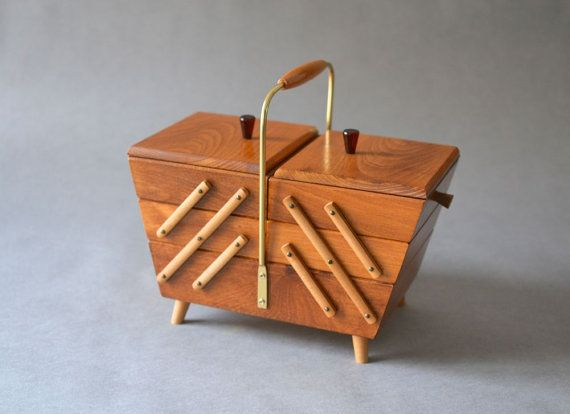 Vintage sewing basket sewing box knitting basket by MightyVintage