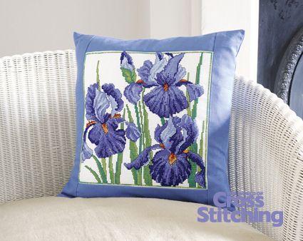 Stunning irises cross stitch chart, The World of Cross Stitching magazine issue199