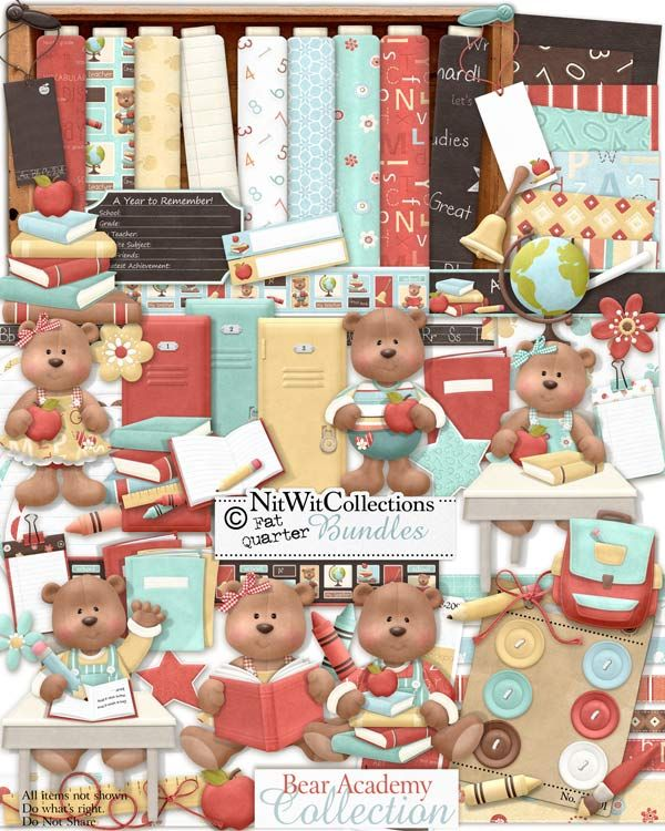 """Bear Academy"" Collection is your back to school source! It has pencils, books, loose leaf paper and more....why go shopping to the store when it's all here?! The bears are ready to learn with their books in hand and raising their paws at their desks...what memory will you use them for.   FQB - Bear Academy Collection by Nitwit Collections™"