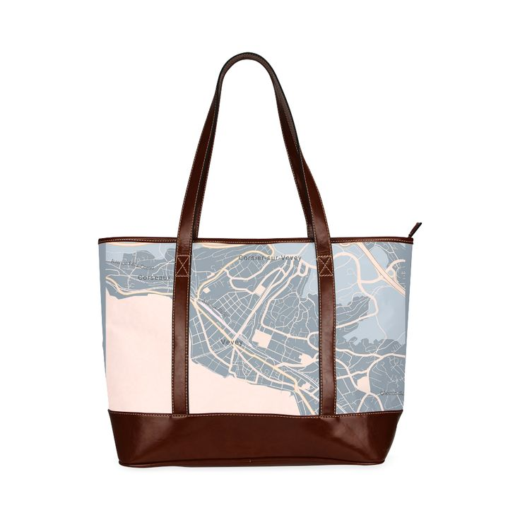 Tote bag pastel grey and pink with the Map of Vevey Tote Bag (Model1642)