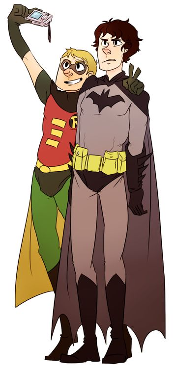 """Sherlock and Watson dressed as Batman and Robin!    """"put on the hood, it's gonna be so funny  we are so sending this to mrs. hudson"""""""