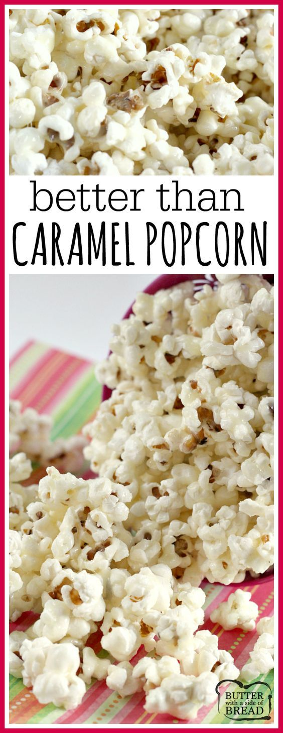 Better Than Caramel Popcorn is gooey and deliciously sweet! The coating for the popcorn is made with butter, sugar and whipping cream - that's it! #recipe #popcorn #yummy Better than #Caramel Popcorn recipe #easy #snack #dessert from Butter With A Side of Bread