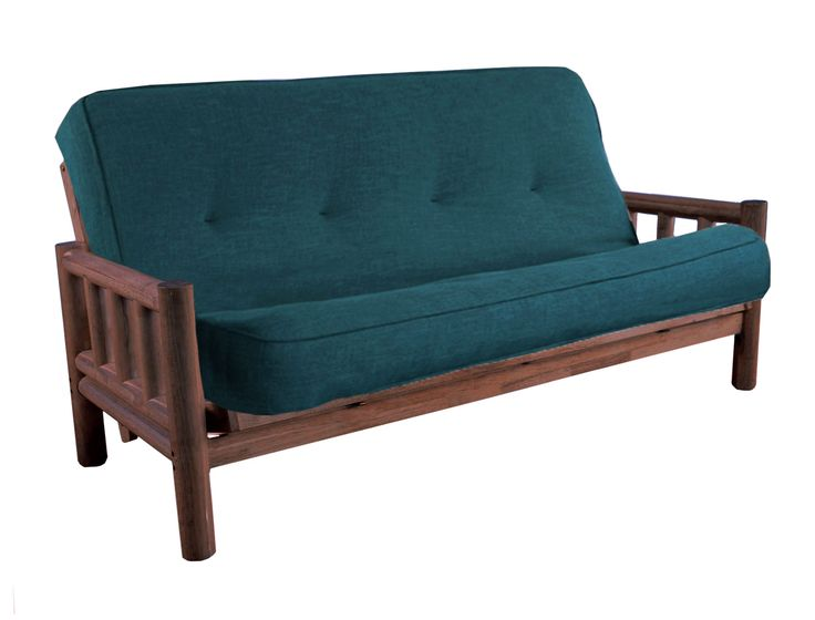Levi Rustic Walnut Futon | Linen Futon Mattress by Karasu Furniture
