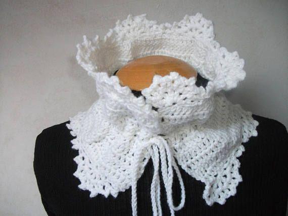 Tour de cou dentelle pour femme fait au crochet blanc en