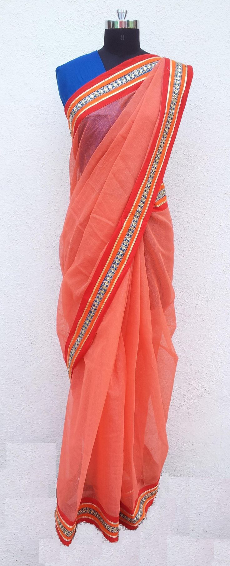 A beautiful Jute Silk Saree in Peach shade with Silk 'n Gota Patti Border with Silk Blouse Piece :)