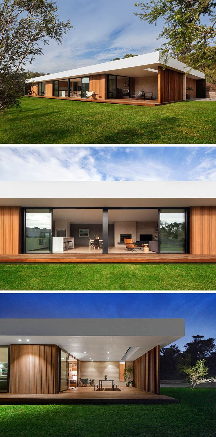 23 Awesome Australian Homes To Inspire Your Dreams Of Indoor/Outdoor Living | Long sliding glass doors along the back side of this home open up onto the backyard as well as onto a covered, lit dining patio, making outdoor dinner parties possible even on rainy nights.