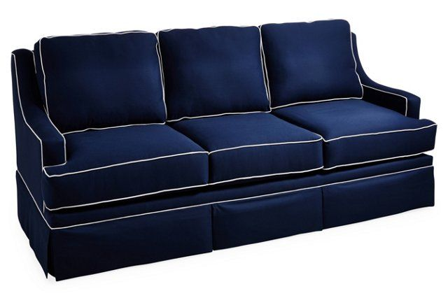 Navy blue sofa with white piping refil sofa for Navy blue sectional sofa with white piping
