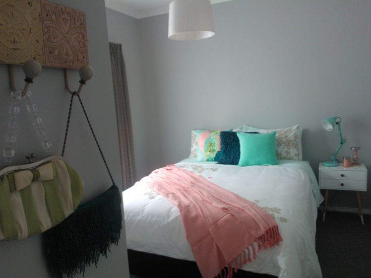 Mint and peach bedroom