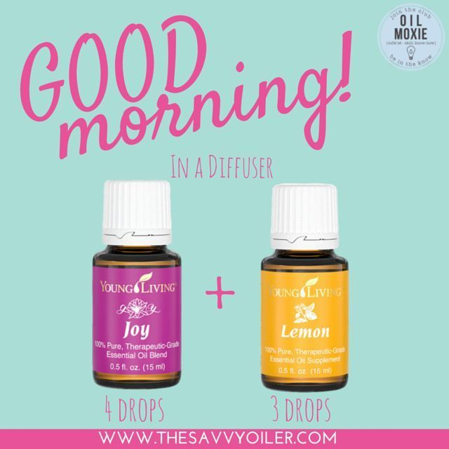 Start your morning by diffusing Joy and Lemon Young Living Essential Oils | For more recipes, check out - http://www.thesavvyoiler.com/top-12-spring-essential-oil-diffuser-recipes/